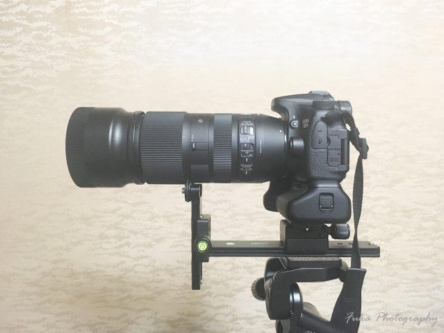 [MENGS] レンズサポート L200 レール に [SLIK] 雲台アクセサリー 11mm ダブルネジアダプター 取り付けたところ