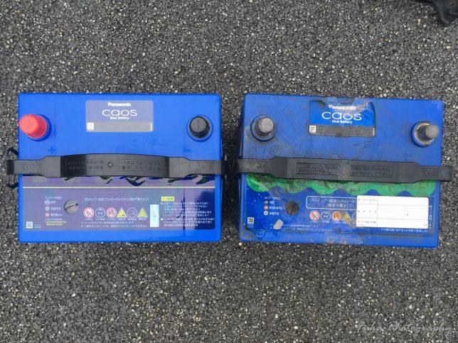 Panasonic 「Blue Battery カオス C6 N-100D23L/C6」と「Blue Battery カオス N-95D23L」のサイズ比較