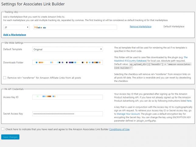 Settings for Associates Link Builder 画面