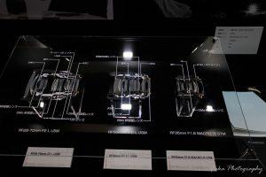 cp+ 2019 CANON RF28-70mm F2 L USM と RF50mm F1.2 L USM と RF35mm F1.8 MACRO IS STM のカットモデル
