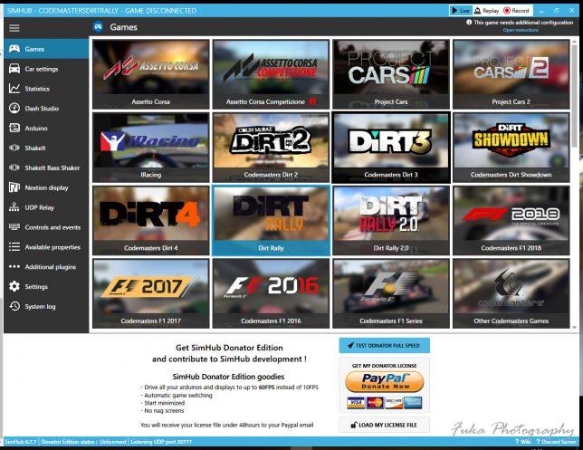 SimHub Games画面