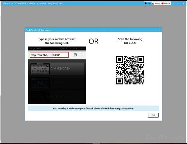 SimHub Dash Studo Mobile Access画面